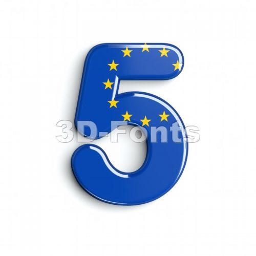 European union number 5 - 3d digit - 3d-fonts