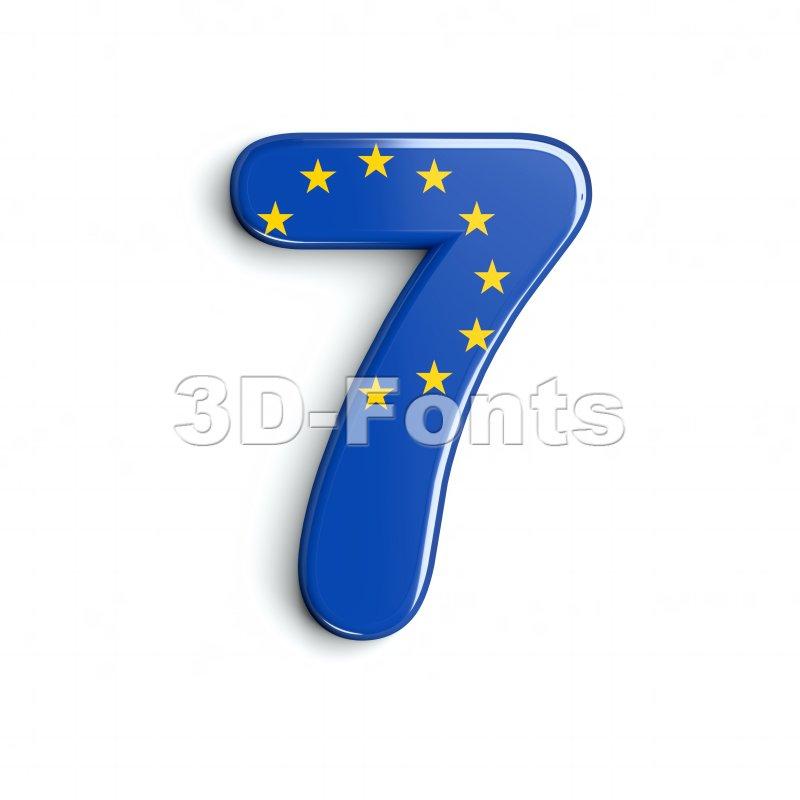 European union number 7 - 3d digit - 3d-fonts