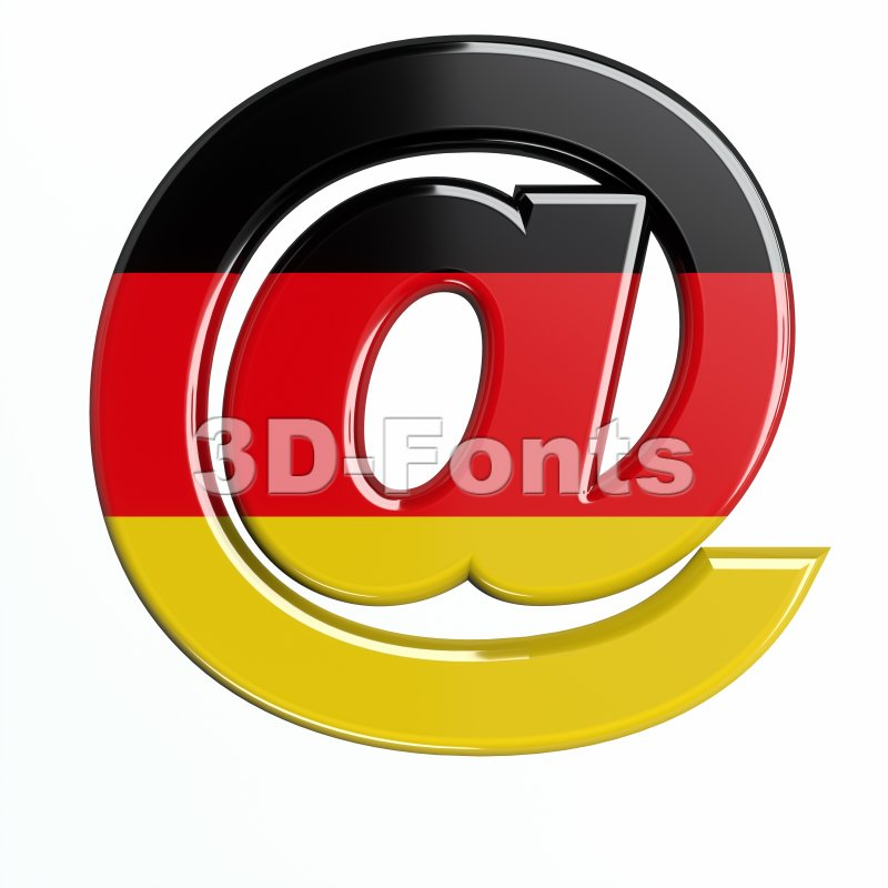 German at-sign - 3d arobase symbol - 3d-fonts
