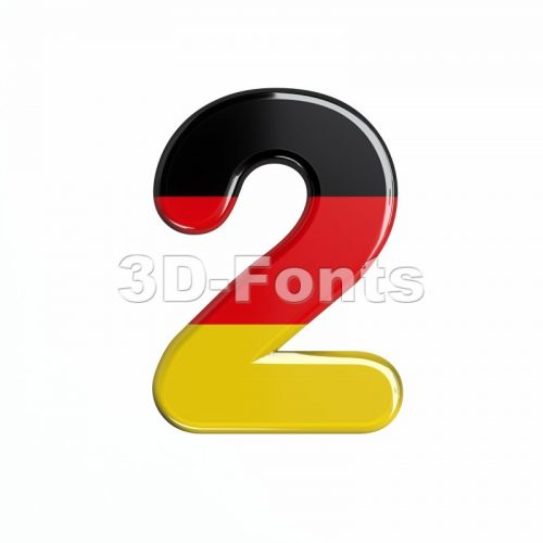 German digit 2 - 3d number - 3d-fonts