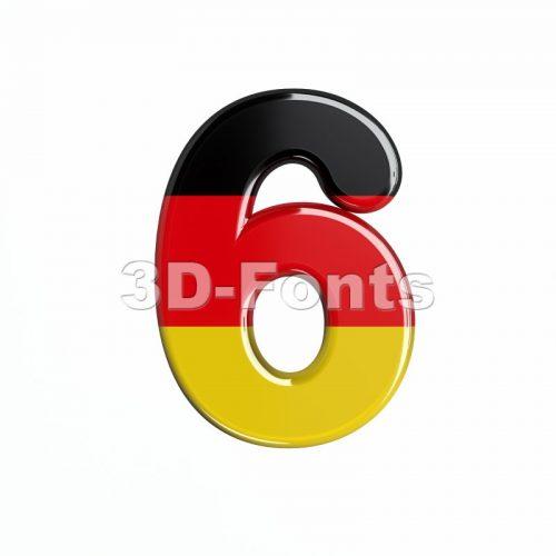 German digit 6 - 3d number - 3d-fonts