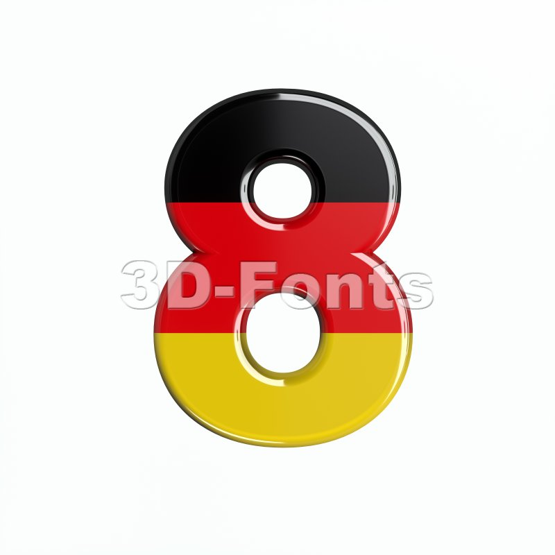 German digit 8 - 3d number - 3d-fonts