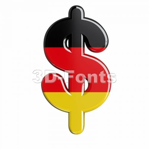 German dollar currency sign - 3d money symbol - 3d-fonts