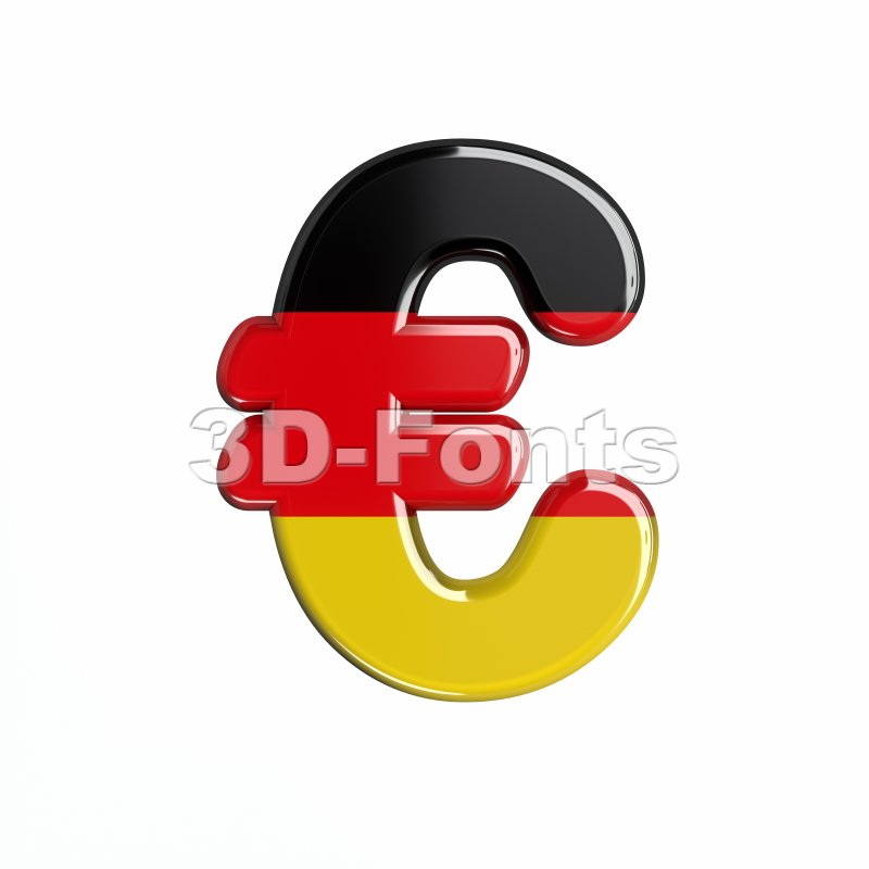 German Euro Currency Sign 3d Symbol On White Background