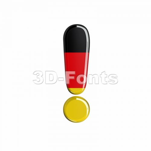 German exclamation point - 3d symbol - 3d-fonts