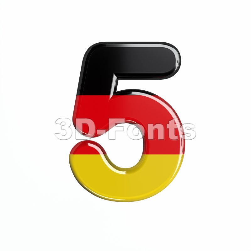 German number 5 - 3d digit - 3d-fonts