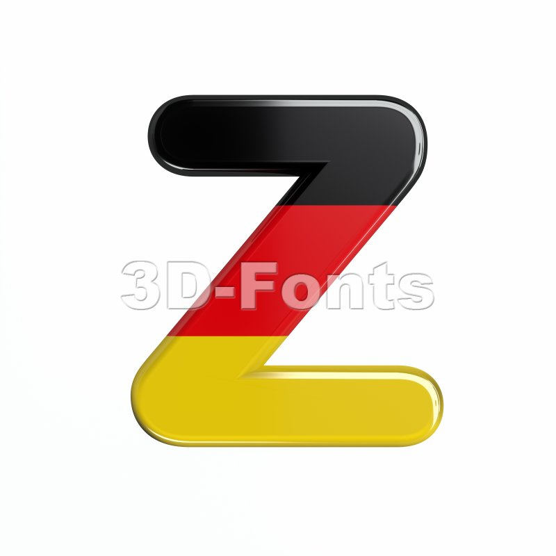 Germany letter Z - Upper-case 3d font - 3d-fonts