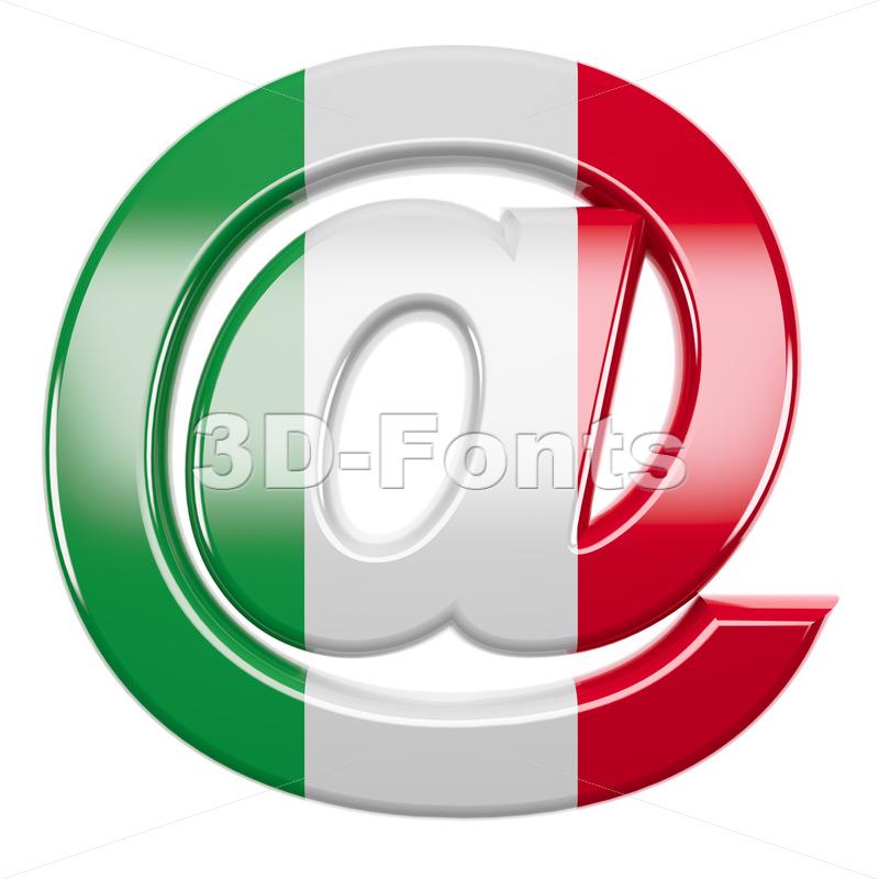 Italian flag at-sign - 3d arobase symbol - 3d-fonts