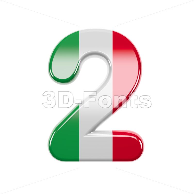 Italian flag digit 2 - 3d number - 3d-fonts