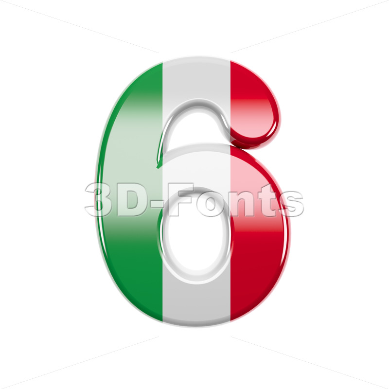 Italian flag digit 6 - 3d number - 3d-fonts