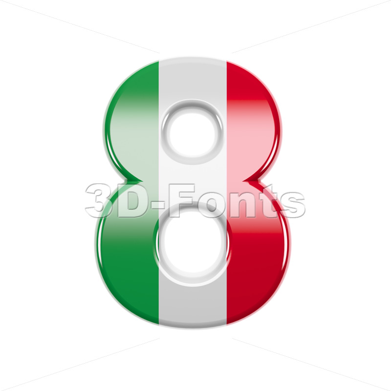 Italian flag digit 8 - 3d number - 3d-fonts