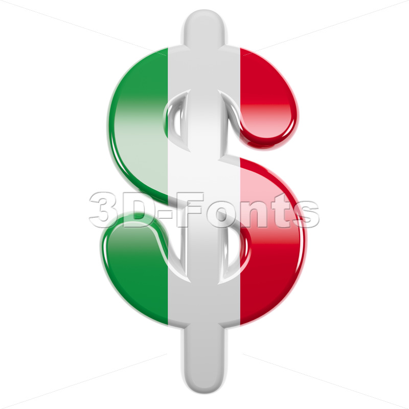 Italian flag dollar currency sign - 3d money symbol - 3d-fonts
