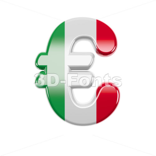 Italian flag euro currency sign - 3d business symbol - 3d-fonts