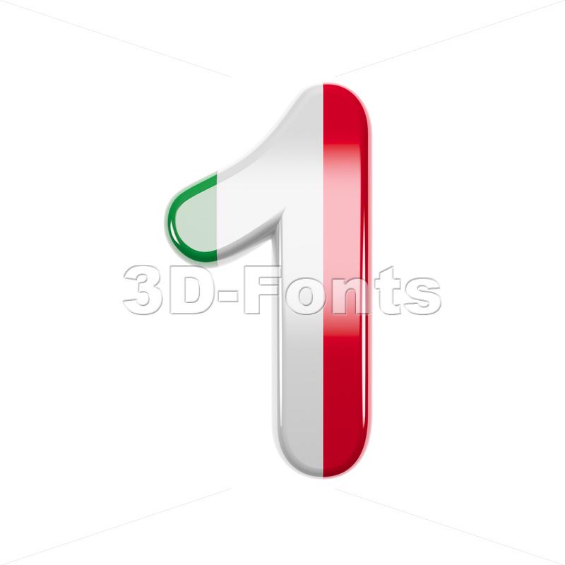 Italian flag number 1 - 3d digit - 3d-fonts