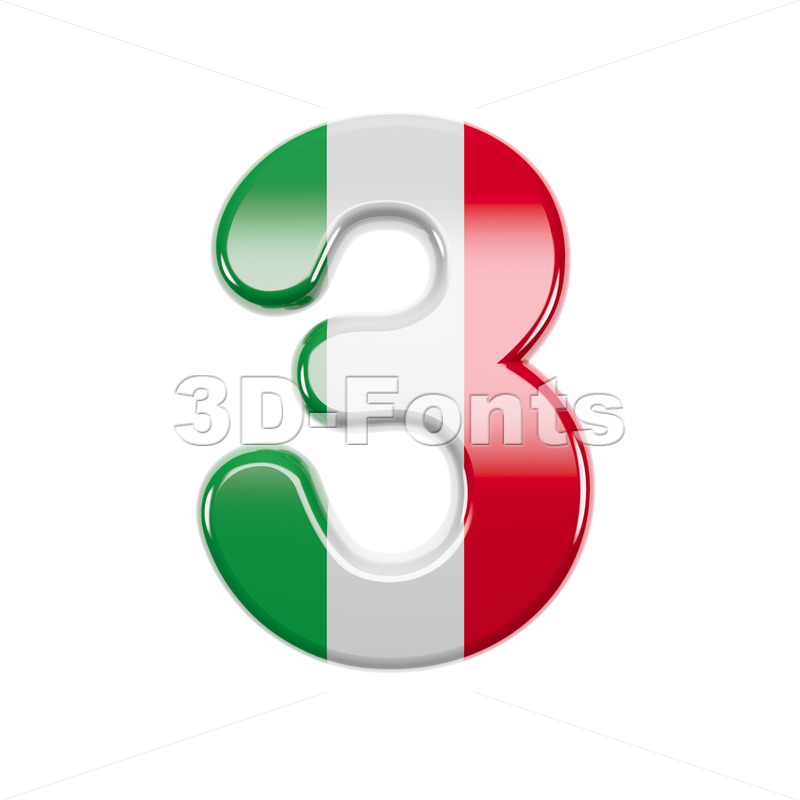 Italian flag number 3 - 3d digit - 3d-fonts