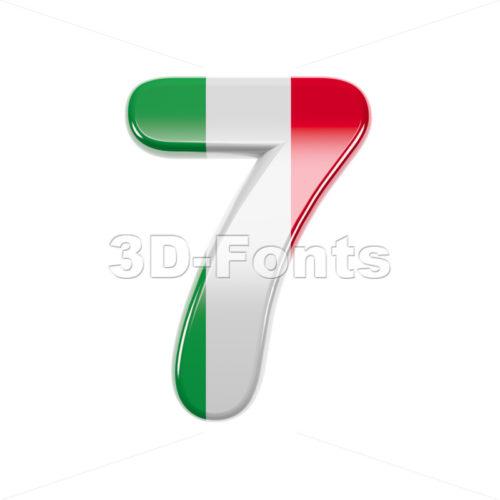 Italian flag number 7 - 3d digit - 3d-fonts