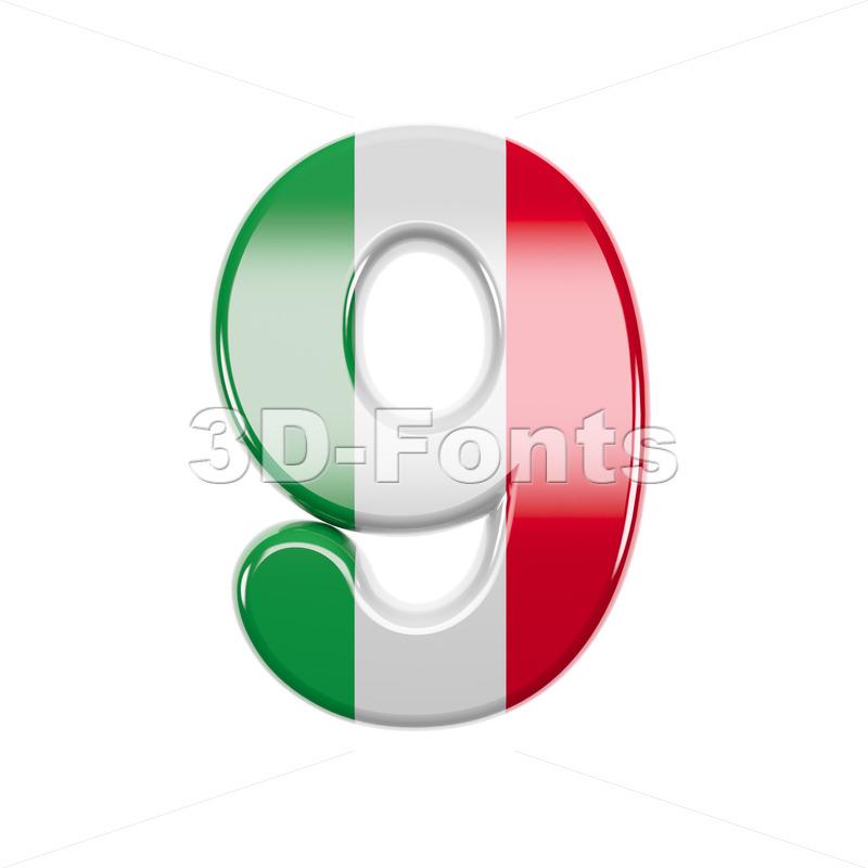 Italian flag number 9 - 3d digit - 3d-fonts