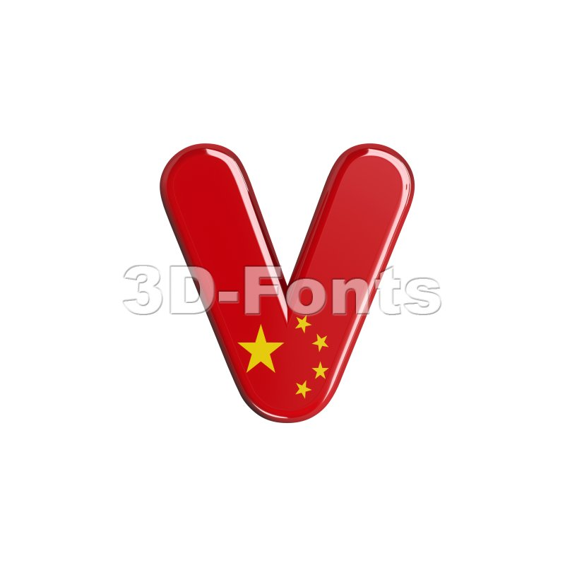 Lowercase chinese flag font V - Small 3d letter - 3d-fonts