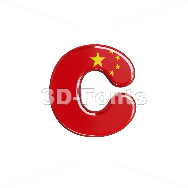 Small chinese flag font C - Lowercase 3d character - 3d-fonts