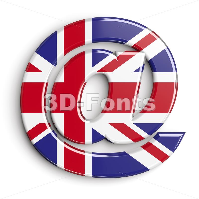 Union Jack at-sign - 3d arobase symbol - 3d-fonts