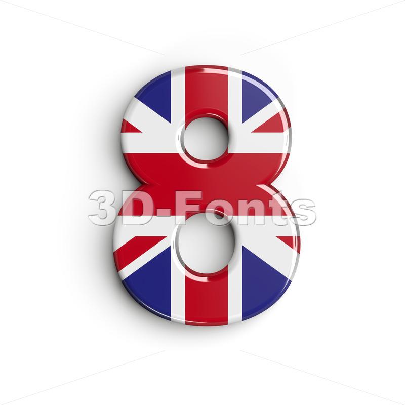 Union Jack digit 8 - 3d number - 3d-fonts