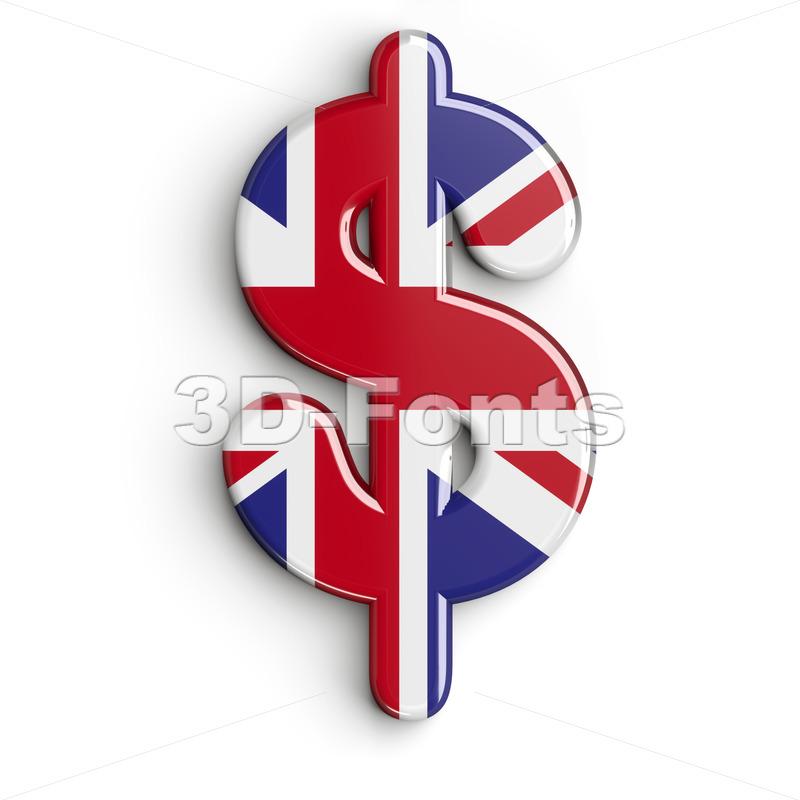 Union Jack dollar currency sign - 3d money symbol - 3d-fonts