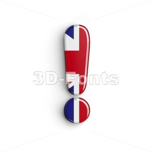 Union Jack exclamation point - 3d symbol - 3d-fonts