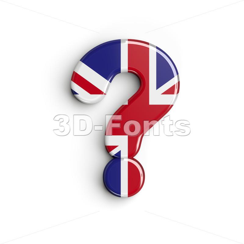 Union Jack interrogation point - 3d sign - 3d-fonts