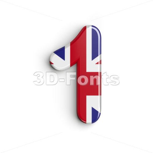 Union Jack number 1 - 3d digit - 3d-fonts