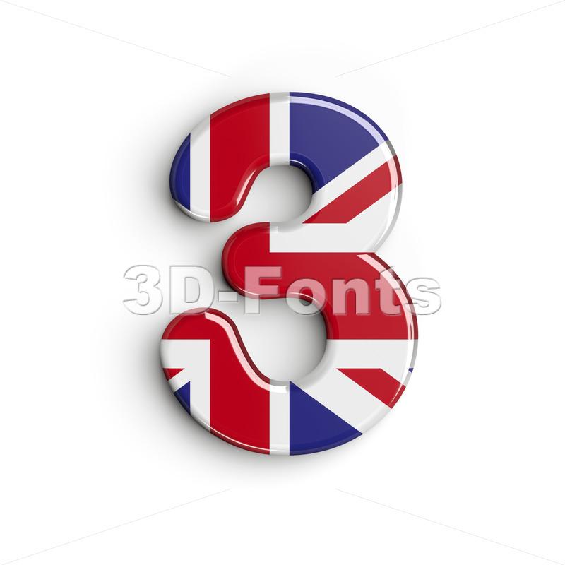 Union Jack number 3 - 3d digit - 3d-fonts