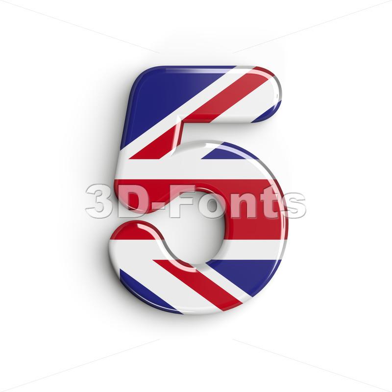 Union Jack number 5 - 3d digit - 3d-fonts