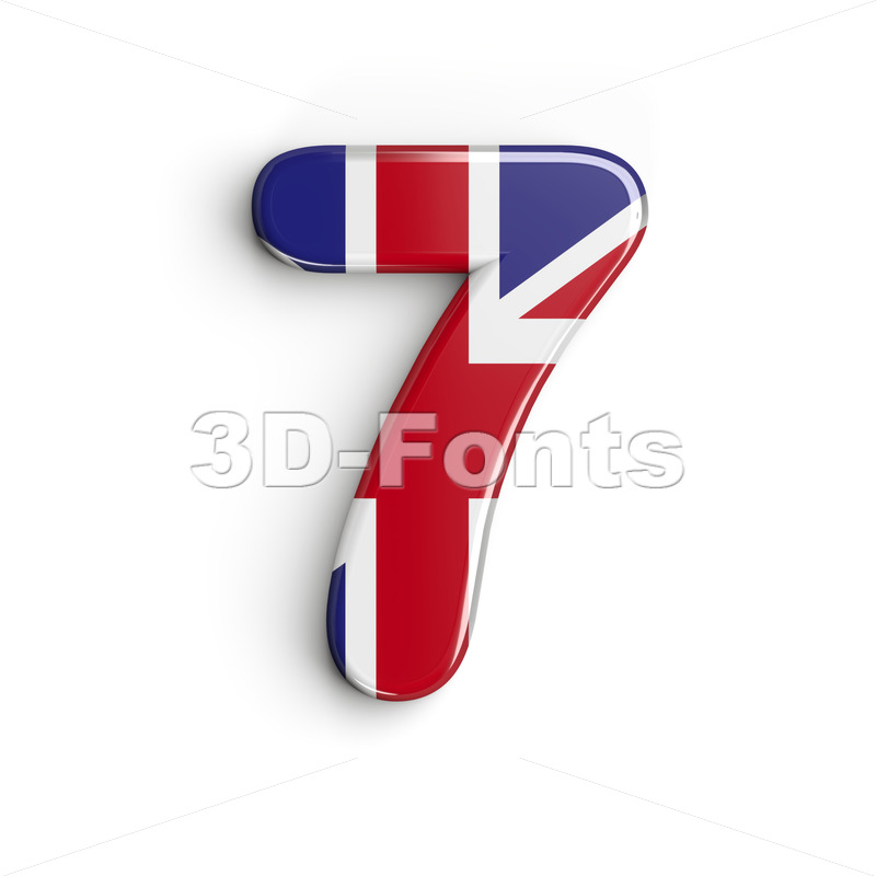 Union Jack number 7 - 3d digit - 3d-fonts