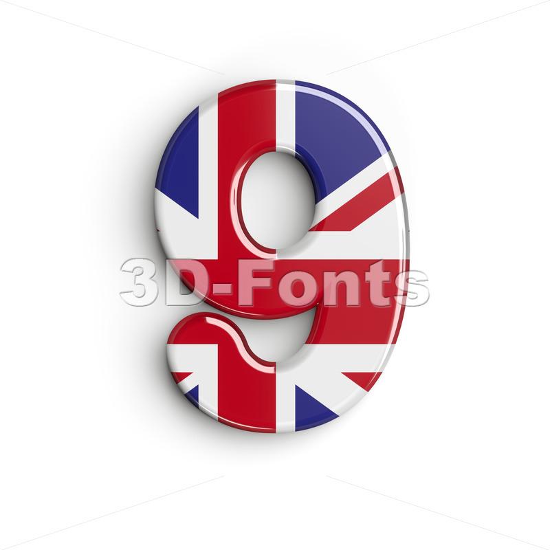 Union Jack number 9 - 3d digit - 3d-fonts