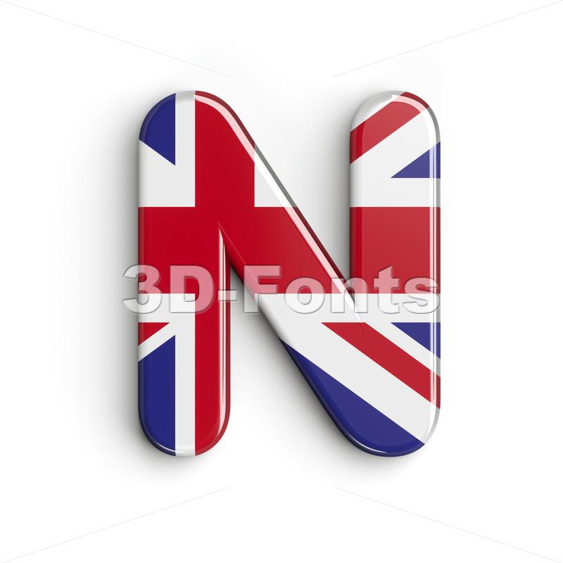 Union font N - Capital 3d letter - 3d-fonts