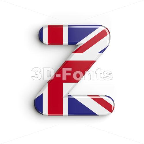 Union letter Z - Upper-case 3d font - 3d-fonts