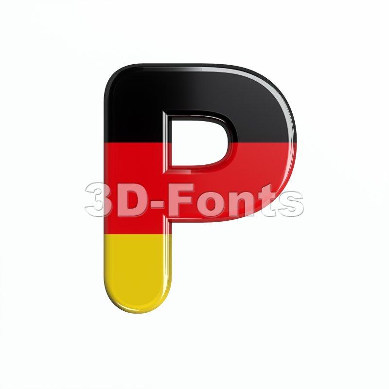Upper-case Germany character P - Capital 3d font - 3d-fonts