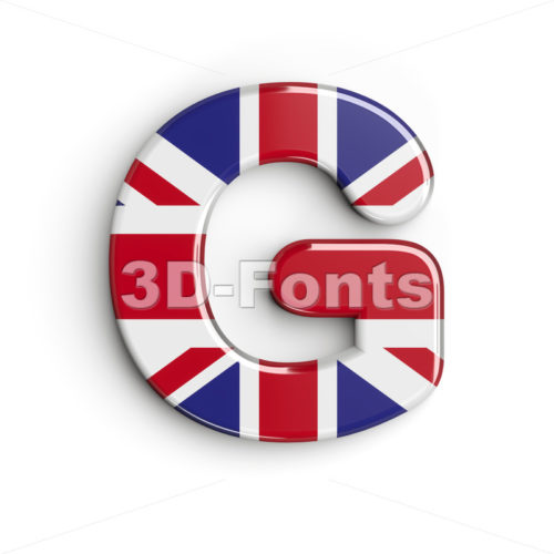 Upper-case british flag character G - Capital 3d font - 3d-fonts