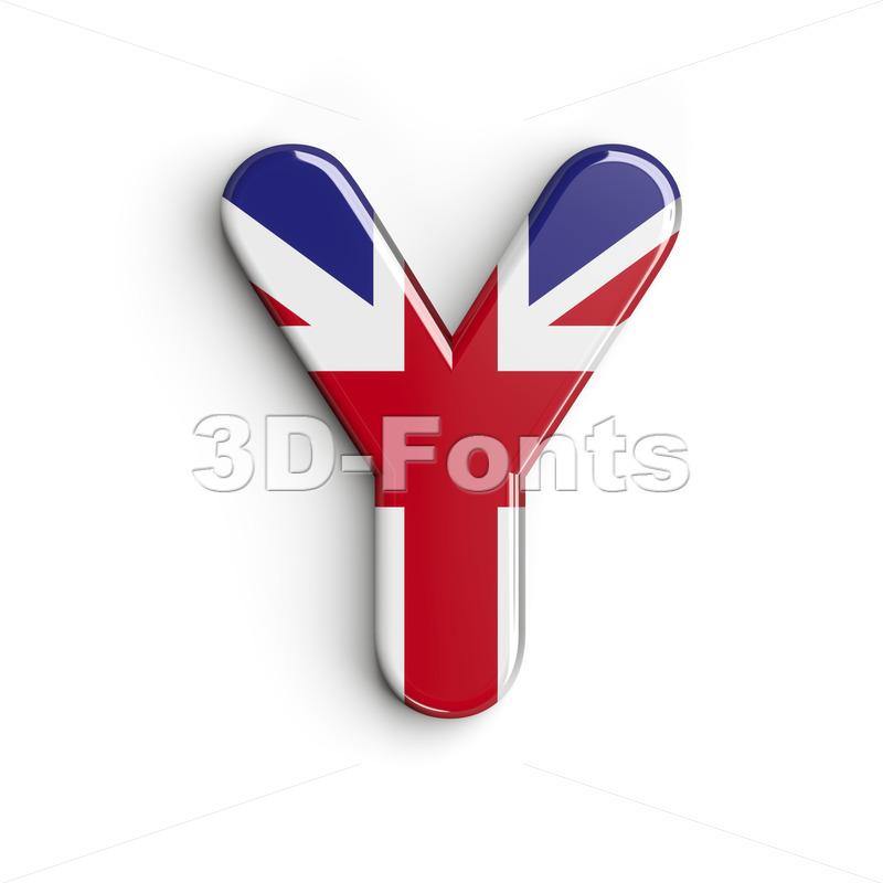 Upper-case british flag font Y - Capital 3d character - 3d-fonts