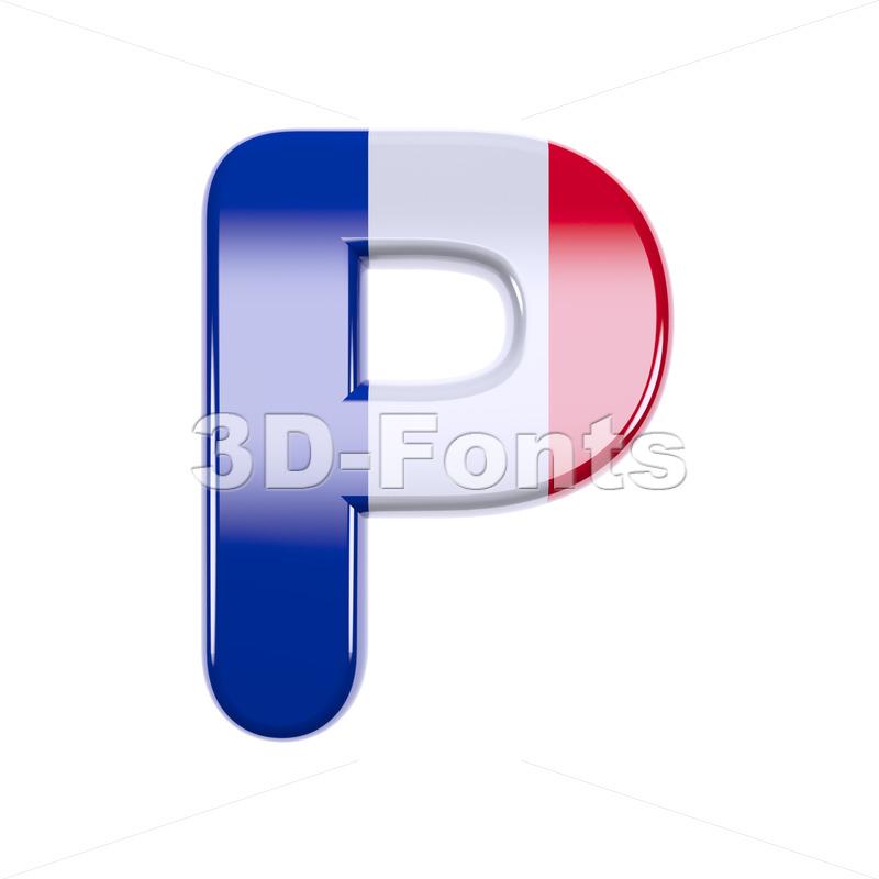 Upper-case french character P - Capital 3d font - 3d-fonts