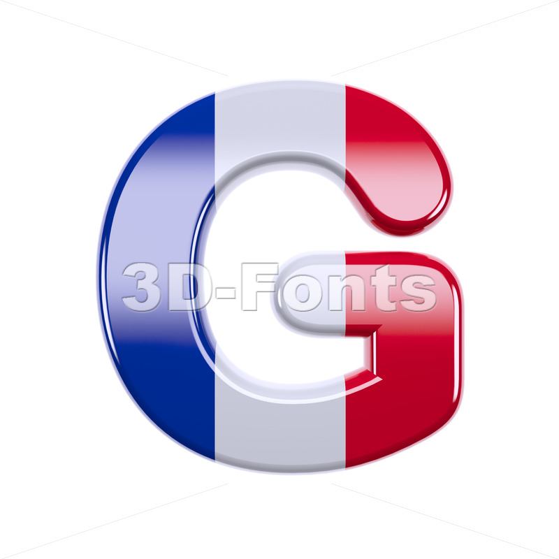 Upper-case french flag character G - Capital 3d font - 3d-fonts