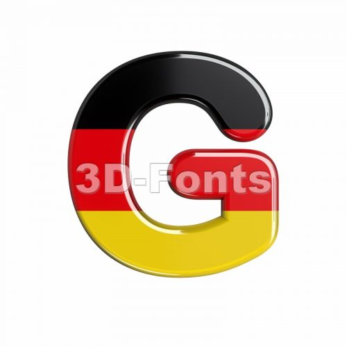 Upper-case german flag character G - Capital 3d font - 3d-fonts