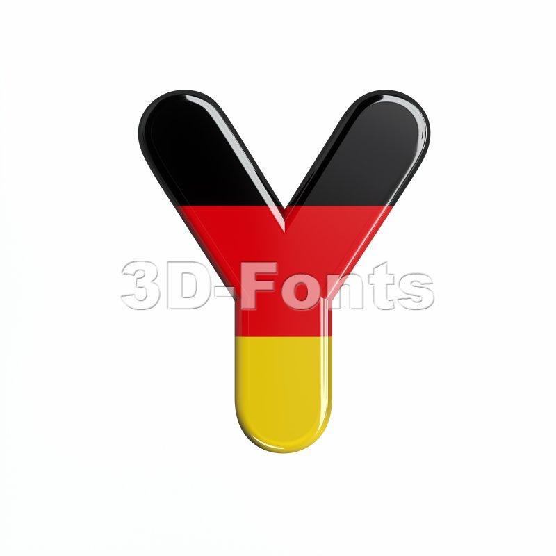 Upper-case german flag font Y - Capital 3d character - 3d-fonts
