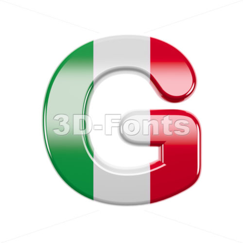 Upper-case italian flag character G - Capital 3d font - 3d-fonts
