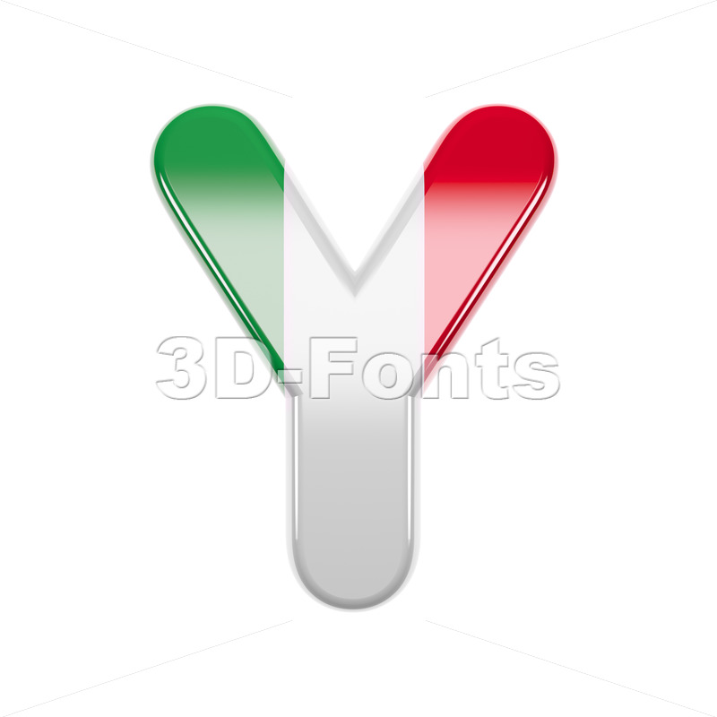 Upper-case italian flag font Y - Capital 3d character - 3d-fonts
