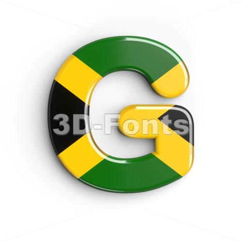 Upper-case jamaica flag character G - Capital 3d font - 3d-fonts