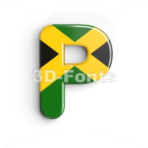 Upper-case jamaican flag character P - Capital 3d font - 3d-fonts