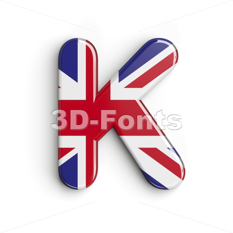 Uppercase british flag letter K - Capital 3d font - 3d-fonts