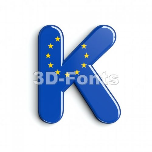 Uppercase eu flag letter K - Capital 3d font - 3d-fonts