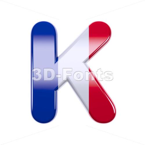 Uppercase french flag letter K - Capital 3d font - 3d-fonts
