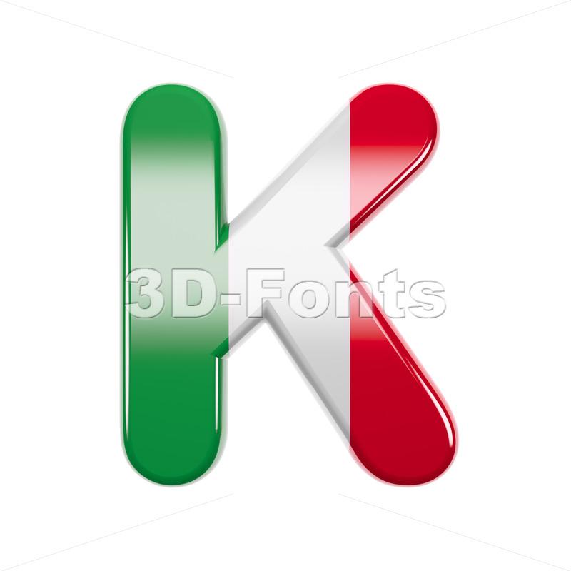 Uppercase italian flag letter K - Capital 3d font - 3d-fonts
